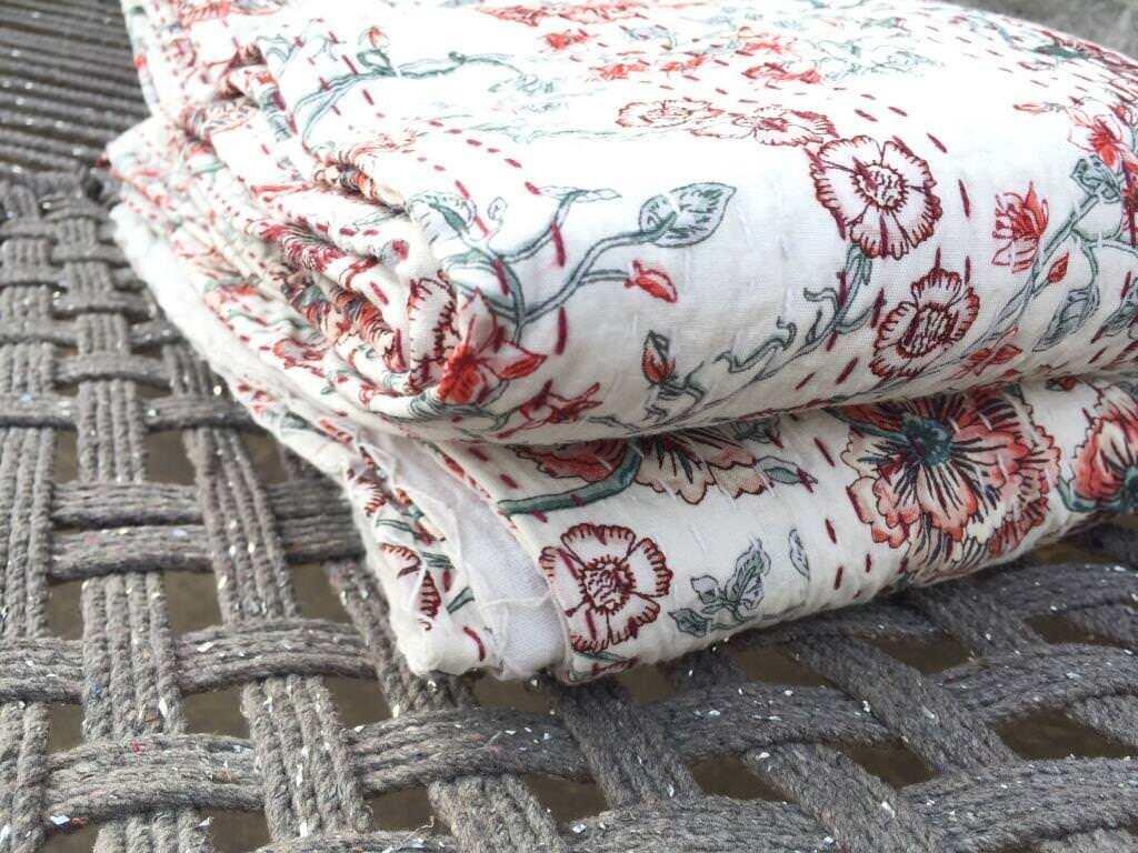 Indian Handmade Quilt Vintage Kantha Bedspread Throw Cotton Blanket Gudri, Queen