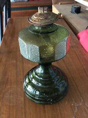 Antique 1920s Lime Green Depression, Antique Green Depression Glass Oil Lamp