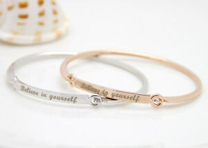 Silver-Plated-Colour-BELIEVE-IN-YOURSELF-Bracelet-Jewelry-Charm-Cuff-Bangle-Gift