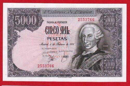 UNC 5000 Pesetas 1976 ''Carlos III'' SPAIN,No letter in the serial number
