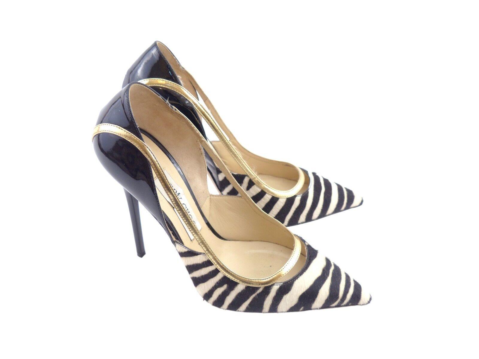 Jimmy Choo Viper Black White gold Zebra Print Calf Hair & Patent