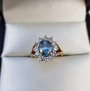 Sapphire And Diamond 14k Gold Halo Dinner Ring Ebay