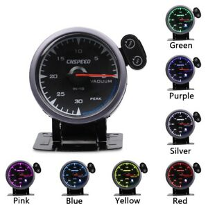 "2.5"" 60MM Car Vacuum Gauge -30~0 in.Hg 7 Color LED Vacuum Pressure Meter Black"