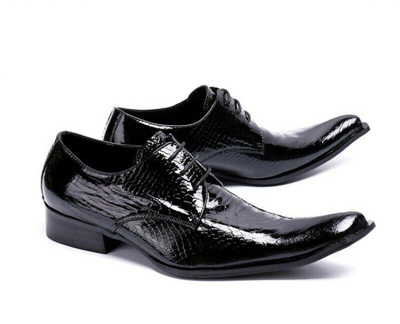 Para hombres Cuero Puntera en Punta Transpirable Wing Tip Negocios Formal Oxfords Bomba Zapatos