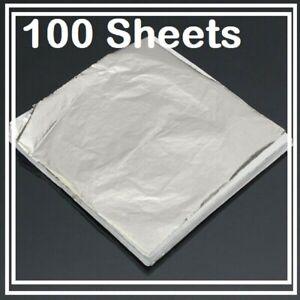 100 Sheets Gold Silver Leaf Foil Sheet Gilding Art Craft Metallic Transfer DIY