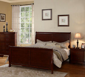 New sevilla cherry finish pine wood queen or king panel sleigh bed ebay - Factory sofas sevilla ...