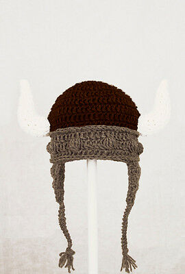 Viking Earflap Hat, Gray Helmet Knit / Crochet Beanie baby-adult