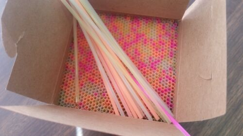"""STRAWS 5 1//4/"""" SLIM ASSORTED NEON COCKTAIL SIPPER STRAW HOME BARS//TAVERNS 1000"""