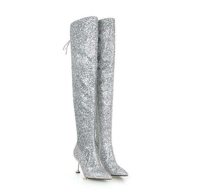 Womens Thigh High Sequins Boots T Stage Stage Stage Show Kitten High Heel shoes Pointy Toe S 5f260f