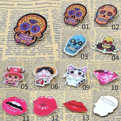 Anime Cosplay Skull Lip Acrylic Brooch Pins Badge For Party Wedding Fashion Gift
