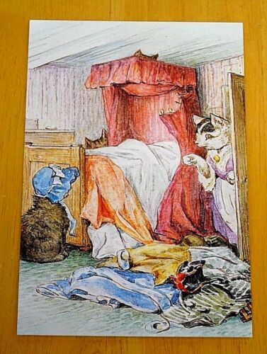 1907 BEATRIX POTTER POSTCARD ~ TABITHA TWITCHIT FINDS THE KITTENS BEING NAUGHTY