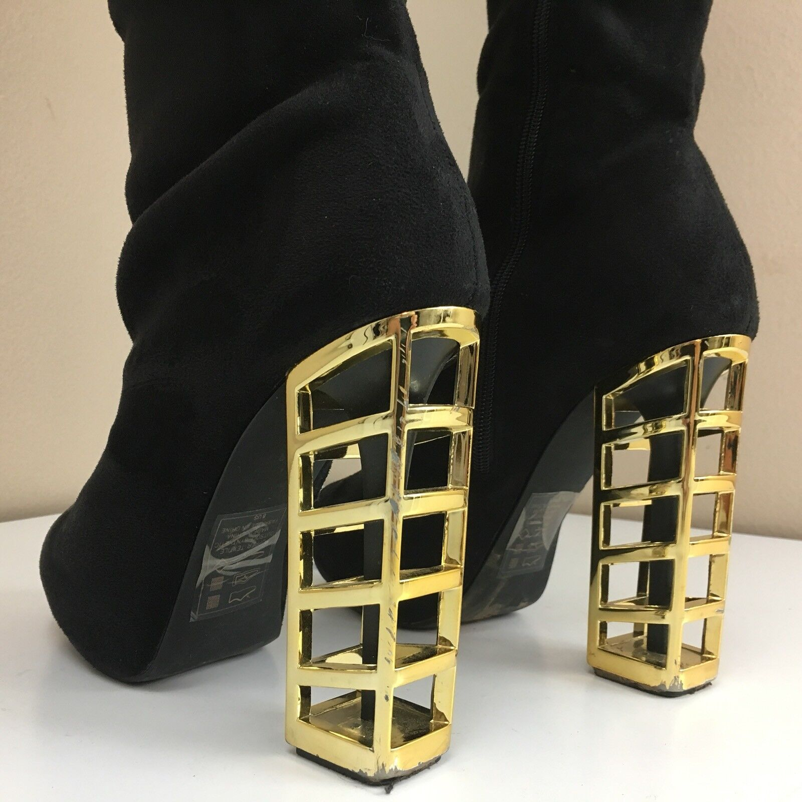 Scene Black Faux Suede Leather TALL THIGH High OTK FASHION Boot GOLD CAGE Heel 8