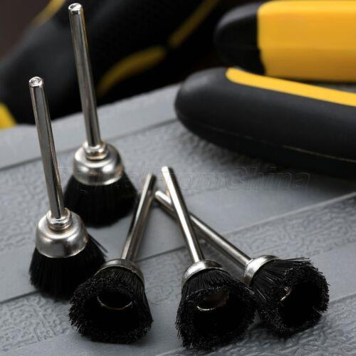 5Pcs 3mm Black Stiff Nylon Cup Bowl Polishing Buffing Mandrel Brush Rotary Tool