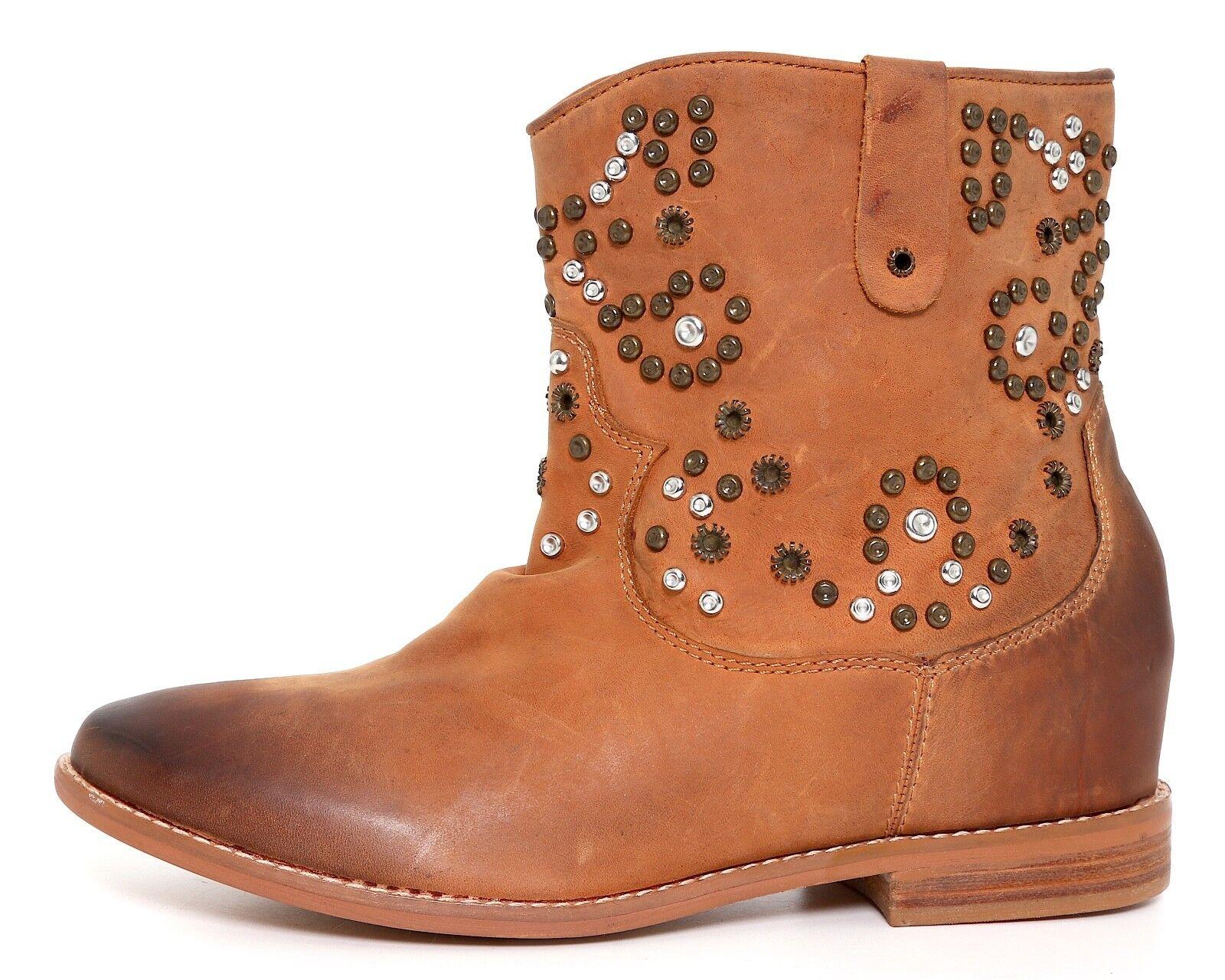 Zigi Girl Truffle Hidden Leder Wedge Boot Braun Damens Sz 10 4652