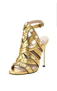 Gold Heel Size 5 Kurt New Faux Caged Goldie Sandals Carvela Pearl Geiger High qg8xtUw1g