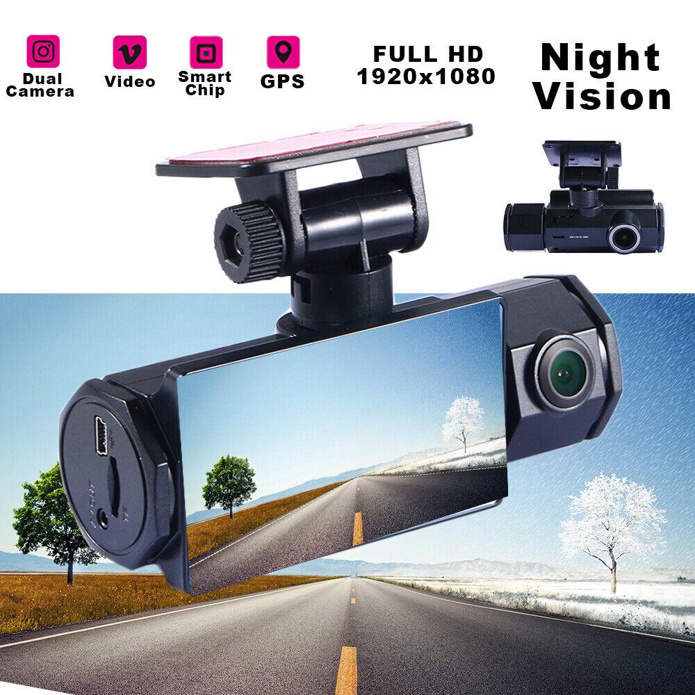GPS Dual Lens Dash Cam HD 1080P Car DVR Front & Inside Camera Video Recorder 1080p cam car dash dual dvr Featured front gps inside lens