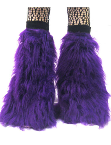 Pink Black Green Neon Flo Fluffy Legwarmers Boot Covers Dancewear Clubbing Rave