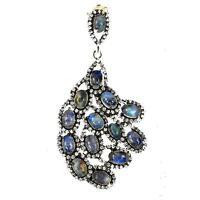 Moonstone Pendant . Silver 925 Rhodium Black + 925 Silver Chain