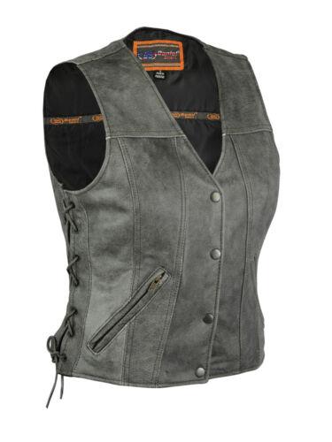 qualité supérieure Veste dissimulée moto vachette pour en poche de de de transport cuir de gris femmes 88gzxnBq