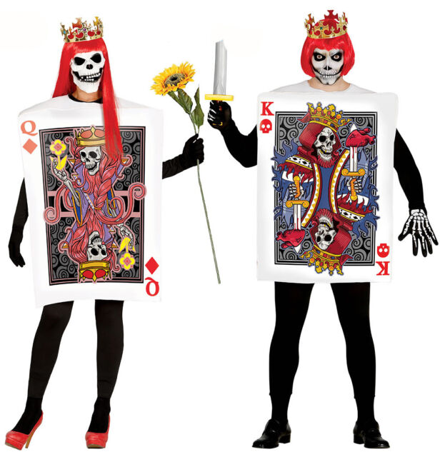 Mens Ladies Playing Card Skull King Queen Couples Halloween Costume Fancy Dress