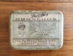 Vintage-Lan-Tox-Bronchos-throat-lozenges-medicine-tin-De-Pree-Chemical-Co