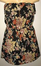 SPEED CENTRA -  BLACK FLORAL - STRAPLESS - 100% POLYESTER DRESS - LARGE