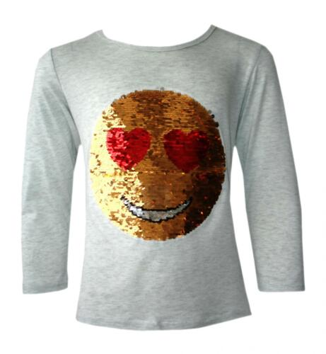 Girls Emoji Sequin Brush Changing Tops Emoticons Face Full Sleeve Tee Top 3-14 Y