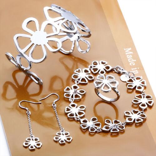 New 925Sterling Silver King Flower Women Earrings Ring Bracelets Set GS235