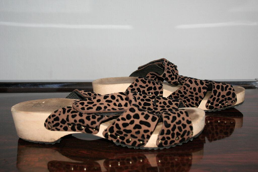 Berkemann Sandale Badeschuhe Leopard 40 Clogs uk7 True Vintage 90s Holz Klepper