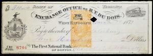 Obsolete-Bank-Check-1872-state-vermont-exchange-office-1872-west-randolph
