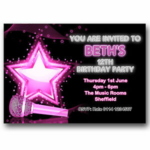 10 Personalised Birthday Party Invitations Popstar Karaoke Music