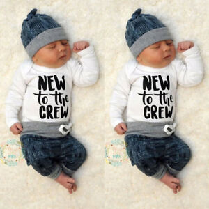 1581bc8d0a20 Newborn Kid Baby Boy Girl 3pcs Clothes Jumpsuit Romper Long Pants ...