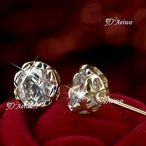 18K-YELLOW-WHITE-GOLD-GF-MADE-WITH-SWAROVSKI-CRYSTAL-ROUND-STUD-DANGLE-EARRINGS