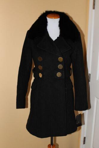 Fit di Flare collo and 1 Blend 10p Madison volpe di Wool Black Coat pelliccia Nwt XqvRq