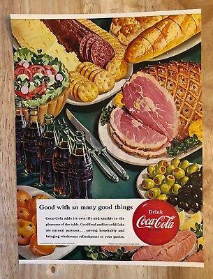 original print ad 1951 drink coca cola good with many things ham ebay. Black Bedroom Furniture Sets. Home Design Ideas