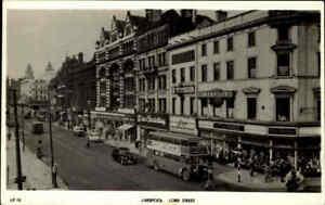 Great-Britain-Postcard-1955-LIVERPOOL-Lord-Street-Traffic-Verkehr-Bus-Auto-Cars