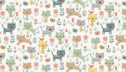 Makower Cats jumping sitting cream flowers FQ//Half metre free P/&P 100/% cotton