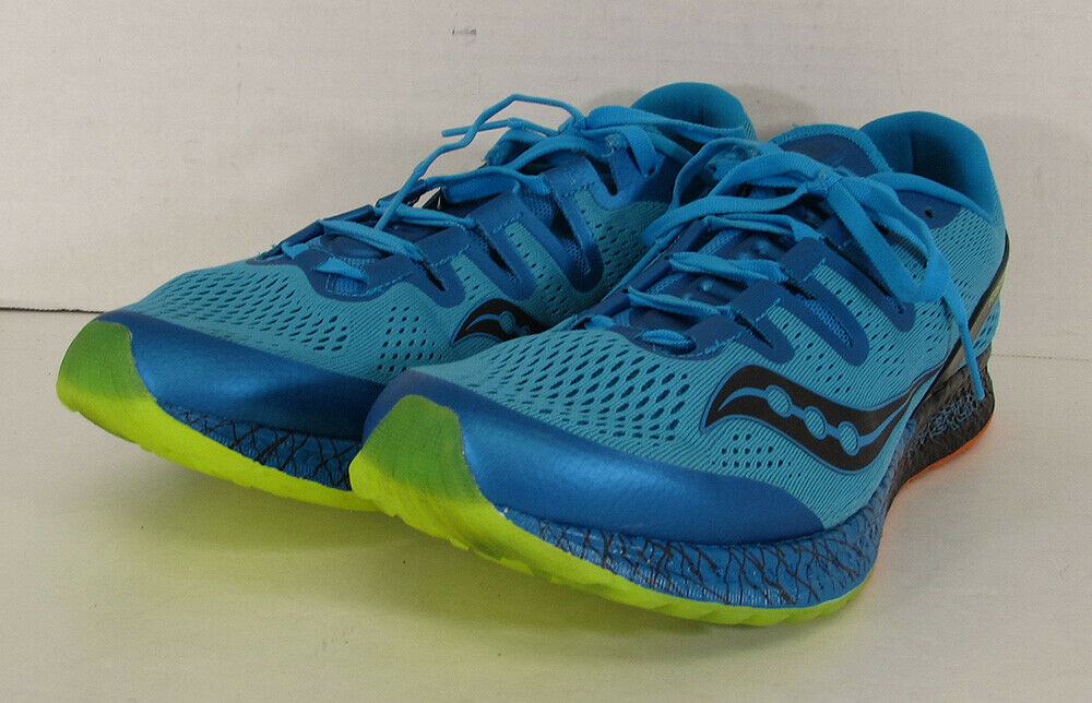 Saucony Mens Freedom ISO Running Trainer shoes bluee Black Lemon Yellow US