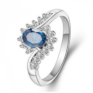 Amical Sapphire Lady Ring Aaaa Zircon Fashion Robe De Mariage Blanc 18k Or Plaqué Anneau-afficher Le Titre D'origine