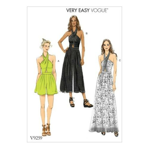 Vogue Sewing Pattern V9259 Women/'s Criss-Cross Halter Romper And Jumpsuit