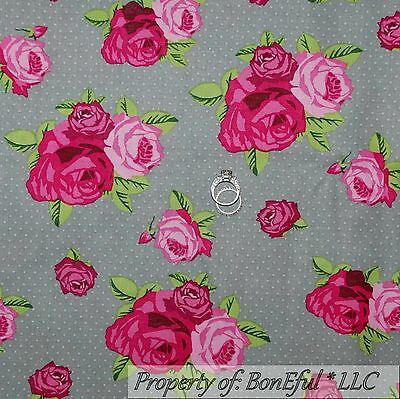 BonEful Fabric FQ Cotton Quilt Brown Green Red Rose Flower Shabby Chic Leaf Vine