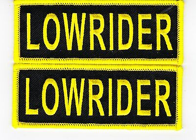 2 LOWRIDER BLACK YELLOW 1.5x4 SEW//IRON ON PATCH EMBROIDERED CHEVY IMPALA FORD