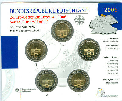 BRD  5 x 2 Euro ADFGJ st im Originalblister (Wählen Sie zwischen 2006 - 2016)