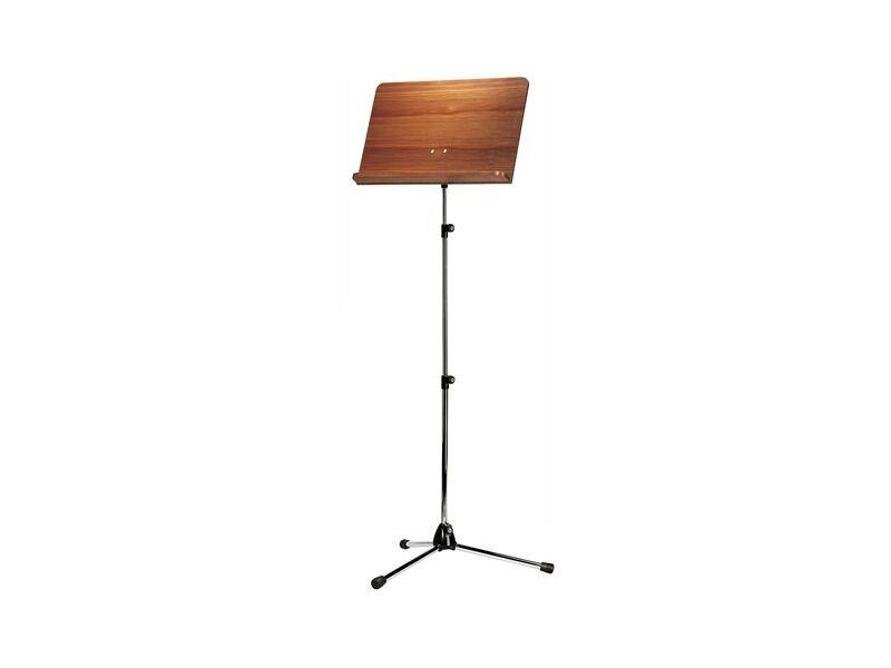 König & Meyer 118/4 Orchesternotenpult - Stativ verchromt, Holzplatte Nussbaum