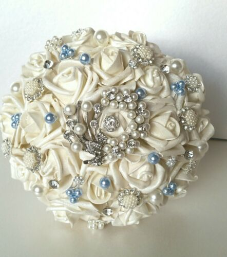 Alternative wedding bouquet,hand painted any colour,vintage,brooch,8 inches wide
