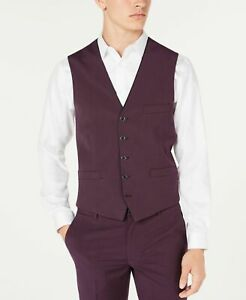 INC-Mens-Suit-Vest-Purple-Size-3XL-Big-amp-Tall-Button-Down-Slim-Fit-59-225