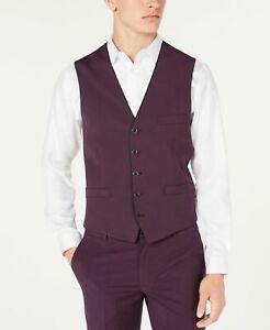 INC Mens Suit Vest Purple Size 3XL Big & Tall Button Down Slim Fit $59 225