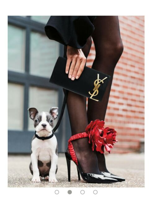 eeefb3c37a3 YVES SAINT LAURENT FREJA 105 PUMP WITH RED FLOWER IN BLACK PATENT LEATHER.  S36