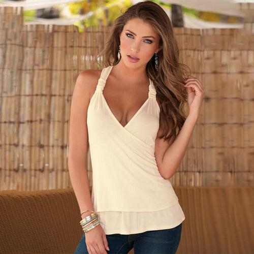 UK Womens Halter Neck Vest T-Shirt Ladies Summer Tank Tops Blouse Plus Size 6-12