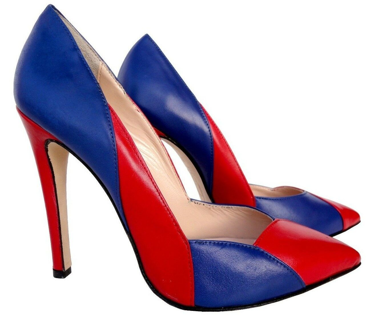 CQ COUTURE ITALY NEW HEELS POINTY PUMPS SCHUHE DECOLTE LEATHER blueE RED red 39